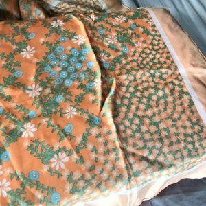 Vintage 50s Floral Silk Scarf